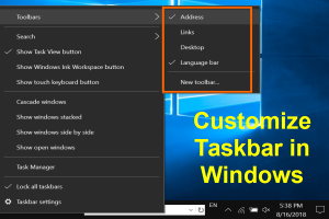 Customize Taskbar in Windows 10