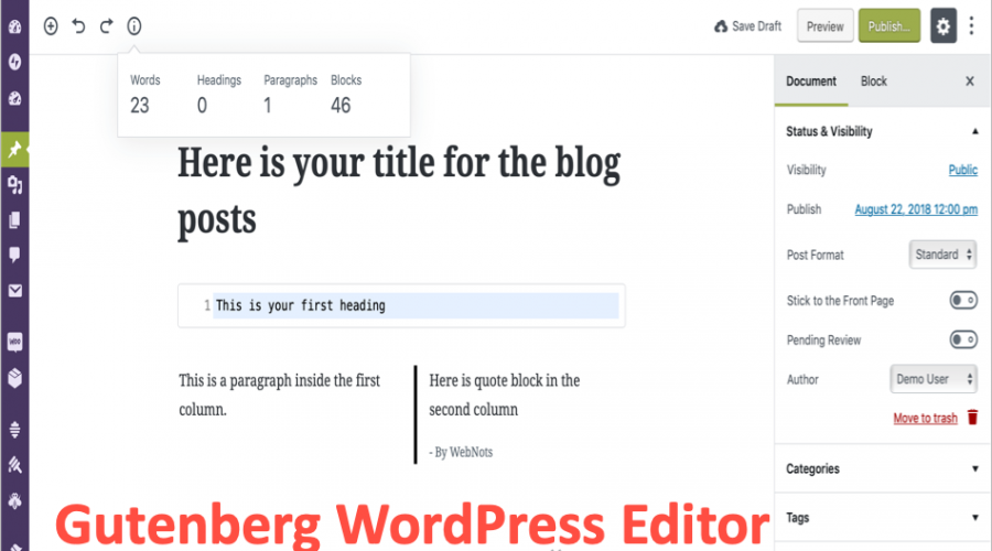 Gutenberg WordPress Editor – The First Review