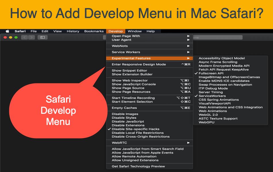 How to Add Develop Menu in Mac Safari?
