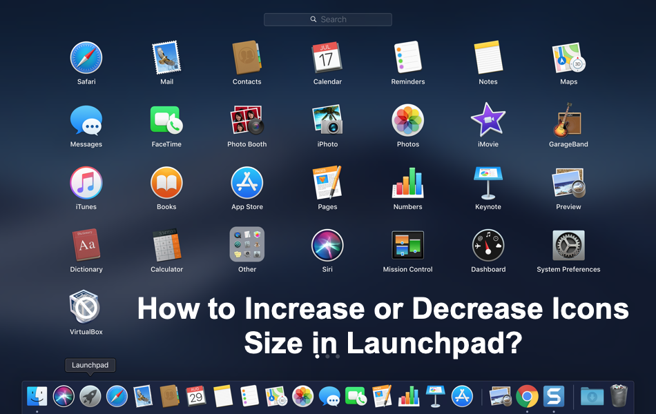 Increase or Decrease Icons Size in Launchpad