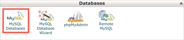 Open MySQL Databases Section