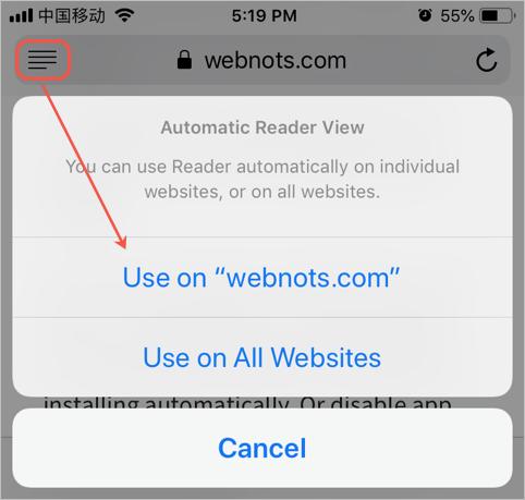 Reader View in iOS Safari