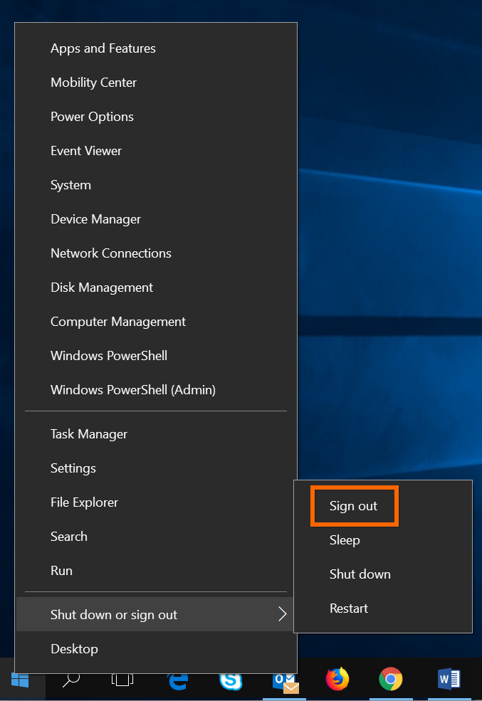 Sign Out Option in Windows 10