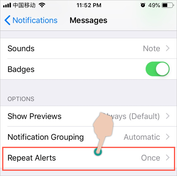 Tap Repeat Alerts Option