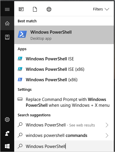 Windows PowerShell through Start Menu