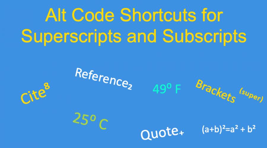 Alt Code Shortcuts for Superscript and Subscript