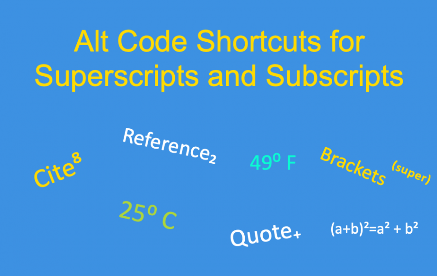 Alt Code Shortcuts for Superscript and Subscript