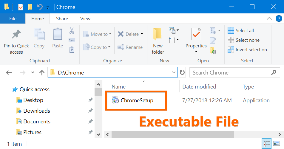 Chrome Executable Installation File in Windows