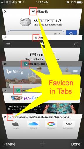 Favicons in iOS Safari Tabs