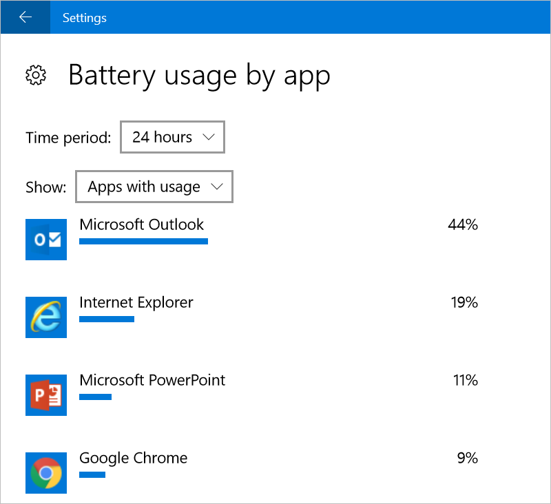 Find Apps Using Battery Power in Windows 10