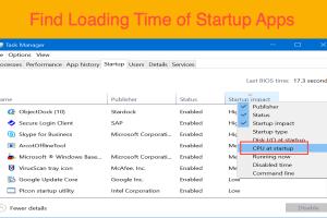 Find Loading Time of Startup Apps