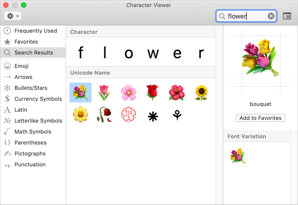 Insert Flower Emoji Symbols in Mac