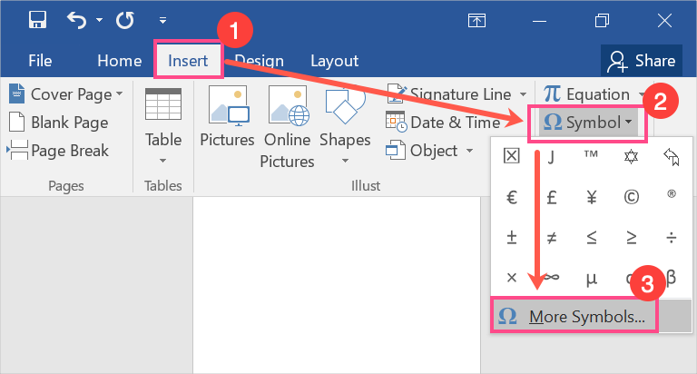 Insert Symbols in Word