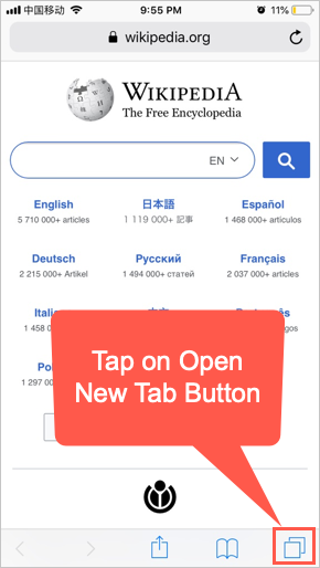 Open New Tab Button