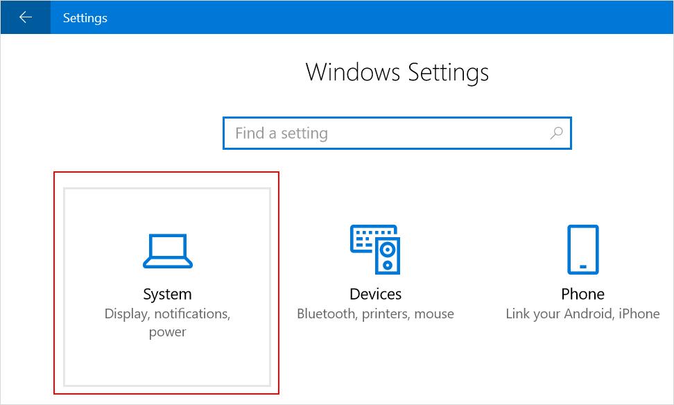 Open System Settings in Windows 10