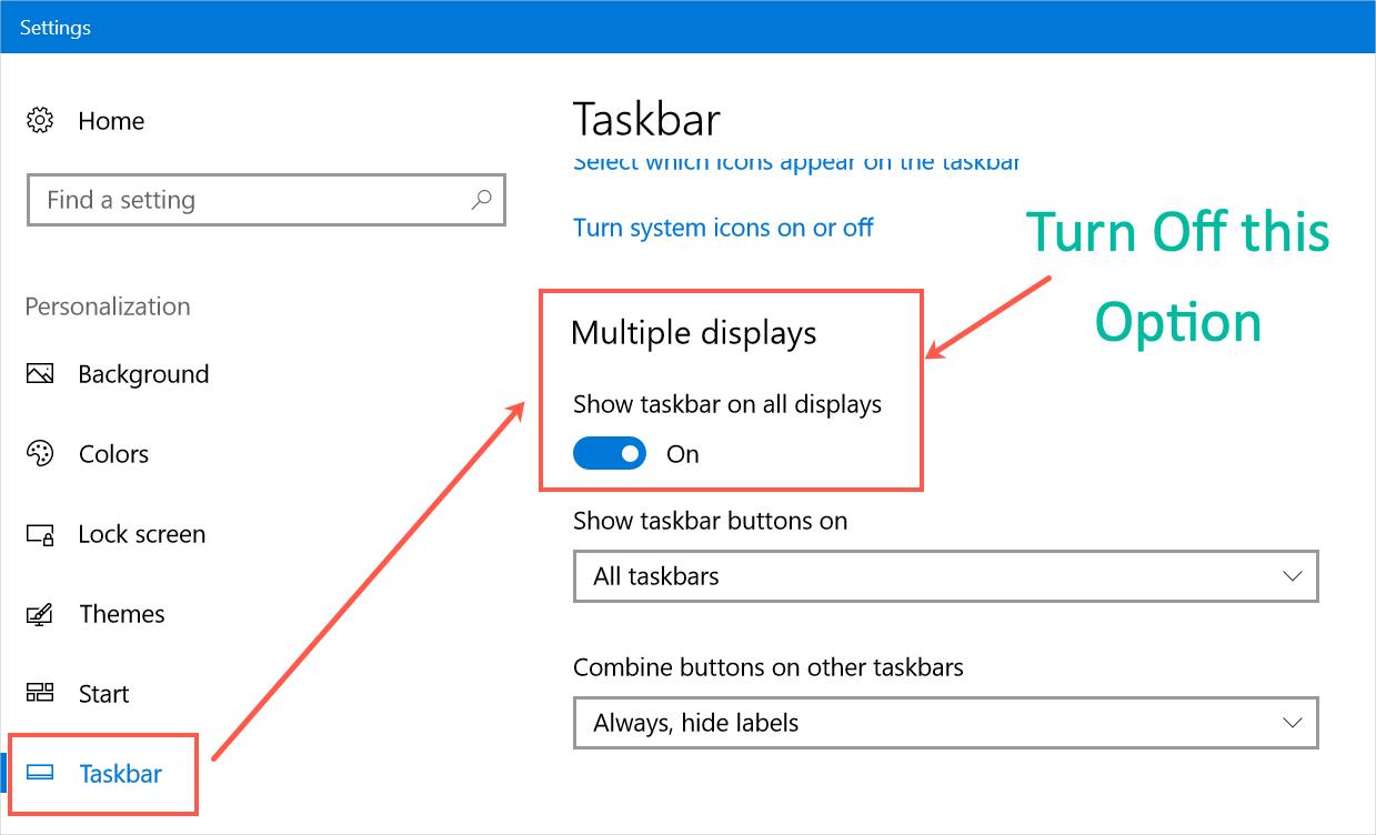 Show or Hide Taskbar in Multiple Displays