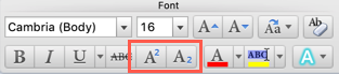 Superscript and Subscript Icons in Word