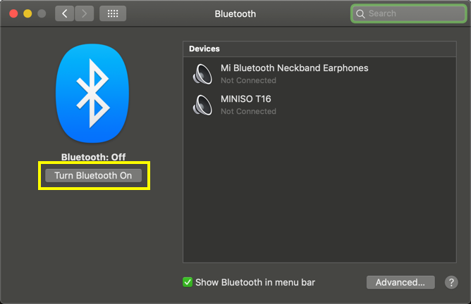 Turn Bluetooth On in Mac