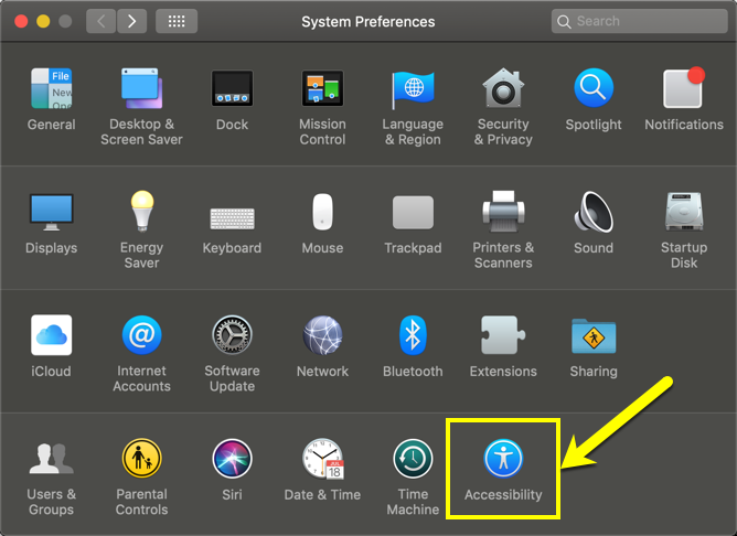 Accessibility Settings in Mac
