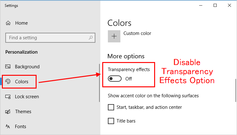 App Screen without Transparency Effect in Windows 10