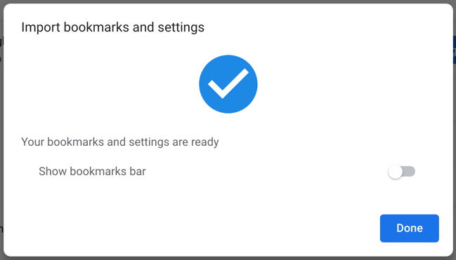 Bookmarks Successfully Imported in Chrome