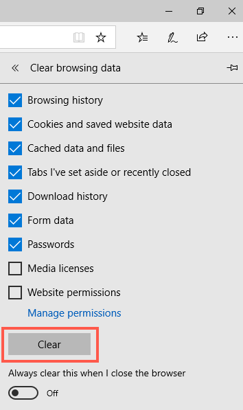 Clear Browsing History in Edge