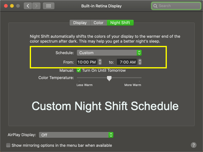 Custom Night Shift Schedule