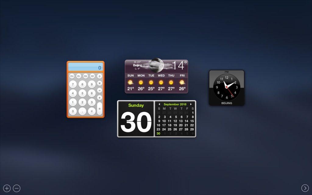 Dashboard in MacBook