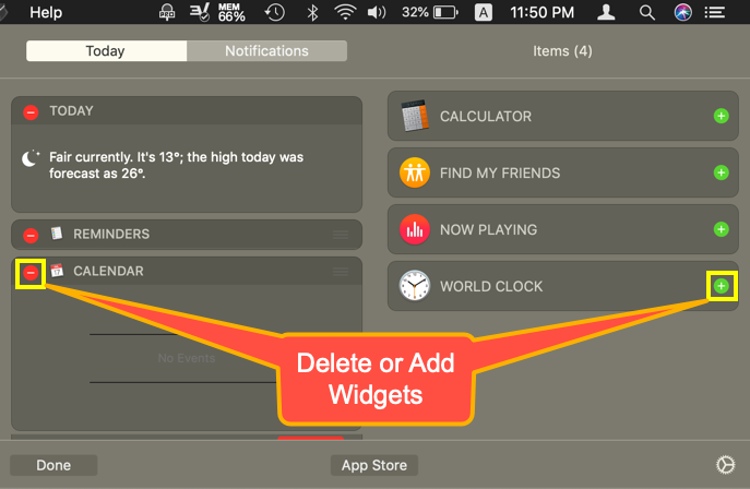 Delete or Add Widgets