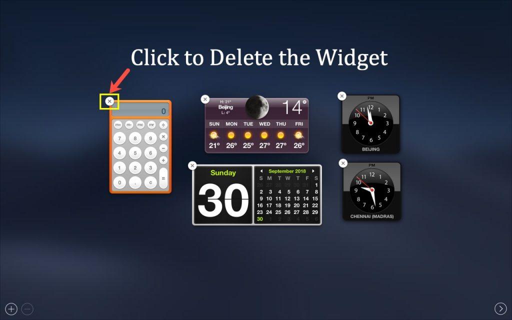 Deleting Dashboard Widget