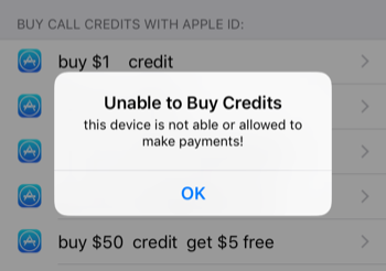 Disabled In-app Purchase Message 2