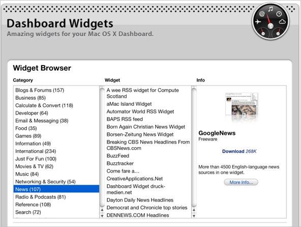 Downloading Widgets for Dashboard