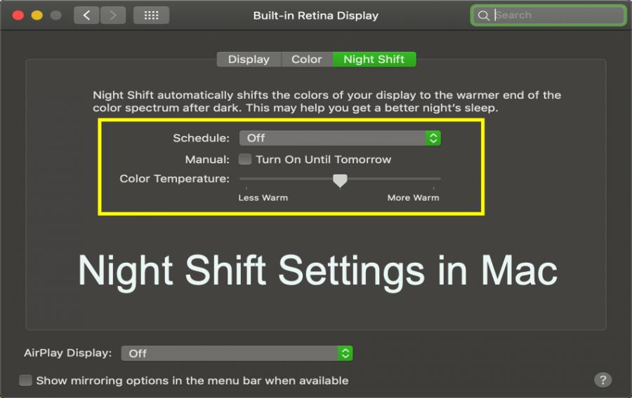 Enable Night Shift Mode in Mac