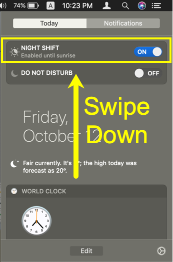 Enable Night Shift from Notification Center