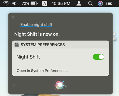 Enable Night Shift with Siri
