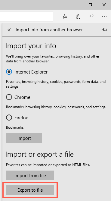 Export Favorites from Edge Browser