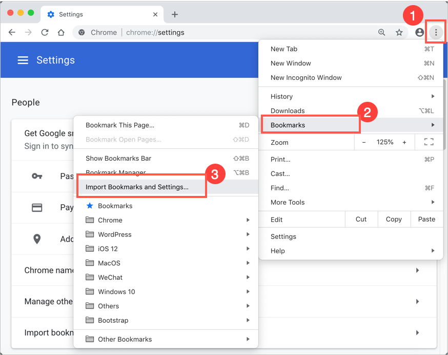 how to copy my bookmarks from google chrome