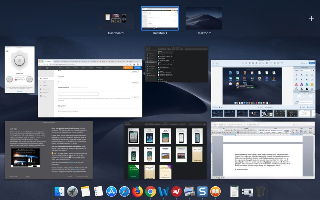 Mission Control in MacBook