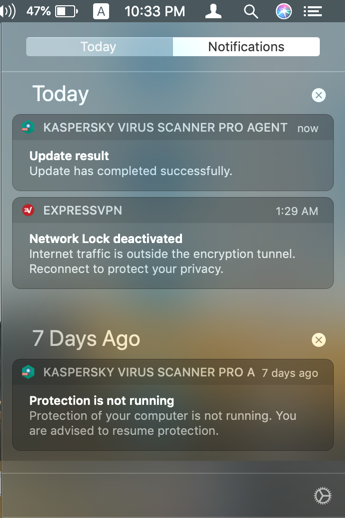 Notification Center in Mac