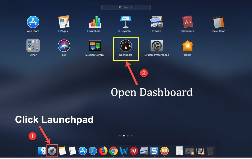 Open Dashboard App in Mac