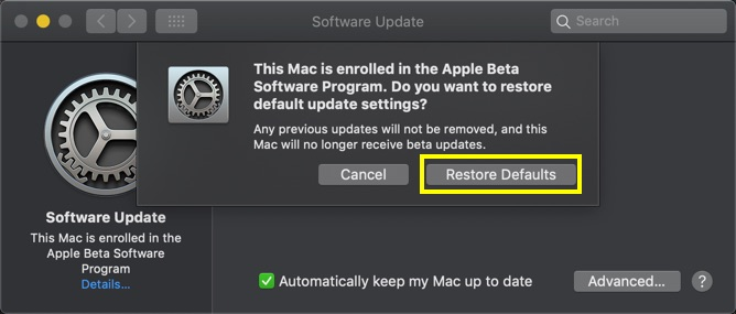 Restoring Default macOS Version