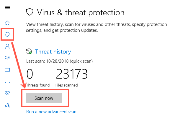 Scan for Viruses and Threats