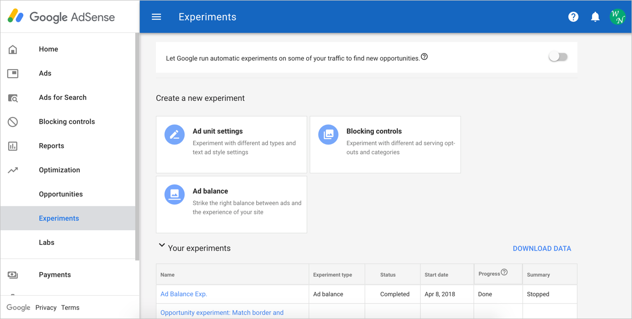 AdSense Experiments Section