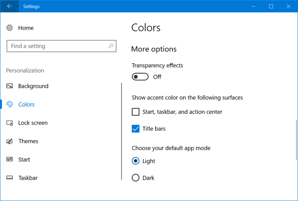 Additional Color Options in Windows 10