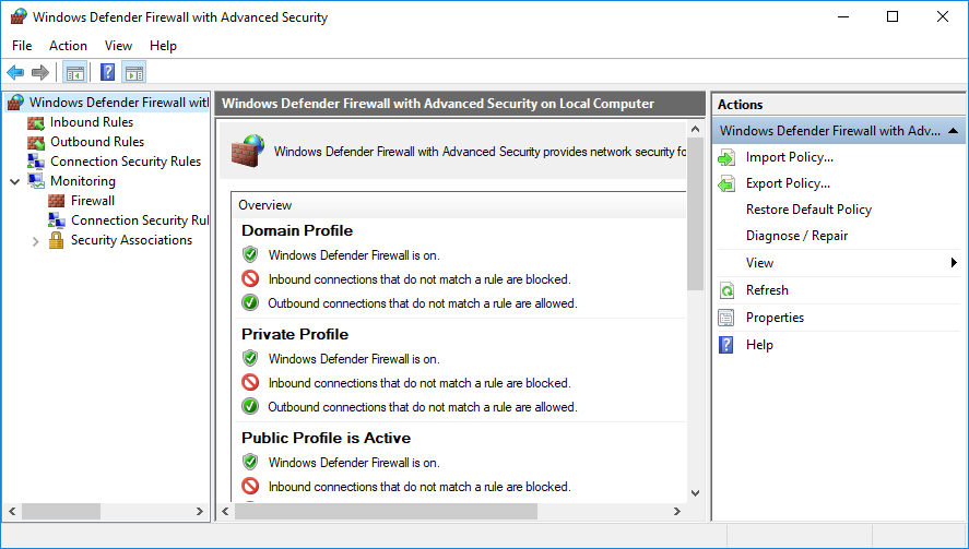 Advanced Firewall Settings
