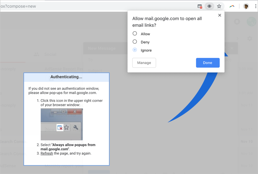 Allow Access in Chrome