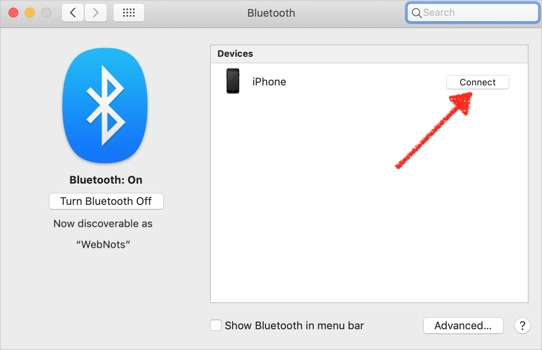 Connect iPhone Using Bluetooth in Mac