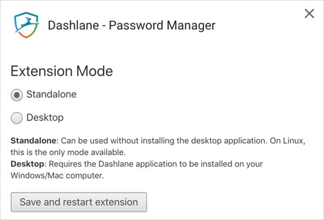 Dashlane Password Manager Options