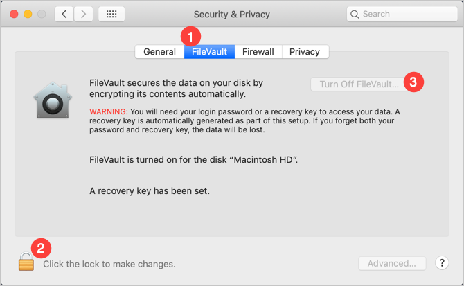 Disable FileVault in Mac