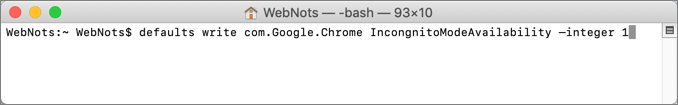 Disable Incognito Mode in Chrome from Terminal